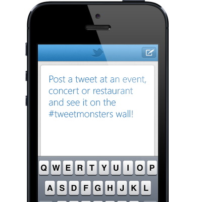 Send a tweet from your phone and see it on your TweetMonsters twitter wall!